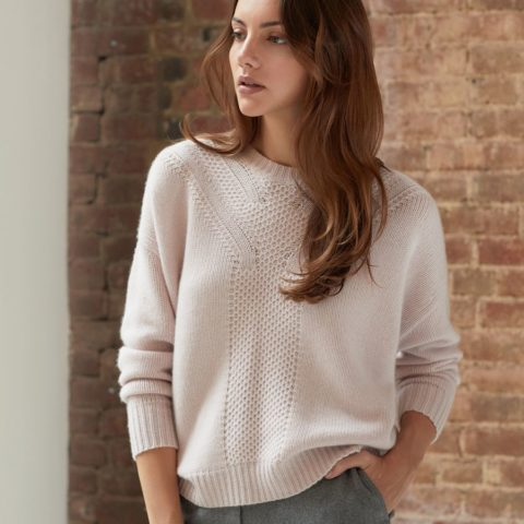 85a14c61669 ... Autumn Cashmere Crew with Honeycomb stitching available in Pearl ...