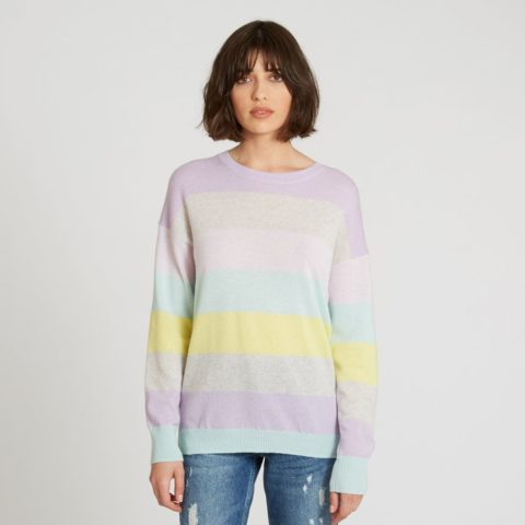 7ddb251d098 ... Autumn Cashmere Rainbow Striped Boyfriend Sweater in Pastel Multi ...